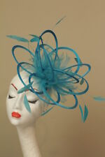 New Turquoise loop feather Fascinator Hat wedding races
