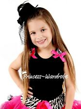 Black Pettitop Hot Pink Bow Zebra For Pettiskirt NB-8Y