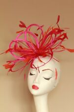 New Hot pink & Orange loop feather Fascinator Hat
