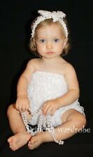 Baby Girls Pure White Lace Ruffles Petti Romper NB-3Y