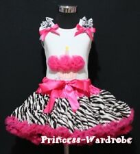 Hot Pink Zebra Pettiskirt and Hot Pink Cupcake Top 1-8Y