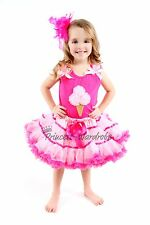 Multi-Pink Pettiskirt Ice Cream Hot Pink Top Set 1-8Y