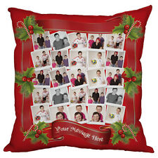 PERSONALISED CHRISTMAS GIFT PHOTO COLLAGE CUSHION  PHOTOMONTAGE XMAS GIFT RED