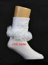 Girls White Ruffle Socks Trim Flower Girl Wedding New 0-Youth 9 USA Seller