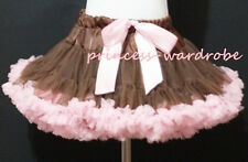 Brown Light Pink FULL Pettiskirt Skirt Petti Party Dance Tutu Dress Girl 1-8Y