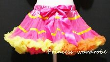 Hot Pink Yellow Rainbow FULL Pettiskirt Skirt Party Dance Tutu Dress Girl 1-8Y