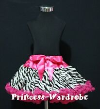 Hot Pink Zebra Print FULL Pettiskirt Skirt Party Dance Tutu Dress Girl 1-8Y