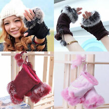 New Women's Rabbit Fur Hand Wrist Warmer Fingerless gloves 8 colors