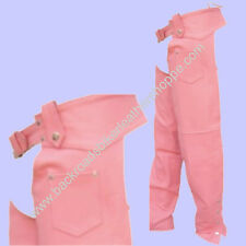 LADIES WOMENS PINK LEATHER CHAPS MOTORCYCLE BIKER SIZES 3XS-3XL
