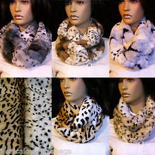 UK-Ladies Winter Warmer Soft Thick faux fur Double loop Snood Scarf Neck Wrap