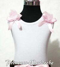 White Pettitop Tank Top with Pink Bows with Various Ruffles 4 Pettiskirt NB-8Y