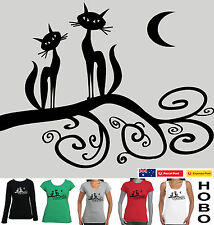 Two Cats women's size ladies scoop V-neck T-shirt  Singlet Long Sleeve top New