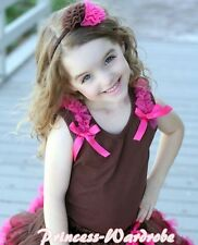 Brown Pettitop Tank Top with Hot Pink Bows with Ruffles For Pettiskirt NB-8Year