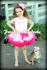 Light Hot Pink Pettiskirt Skirt Pink Pettitop Top Light Pink Rosettes Set 1-8Y