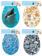 BATHROOM TOILET SEAT ADHESIVE COVERS DOLPHIN PEBBLES MOSAIC TILES OR SEA SHELLS