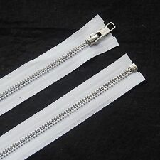 YKK BEST QUALITY WHITE METAL OPEN END ZIP- WITH SILVER TEETH- CHOOSE YOUR SIZE
