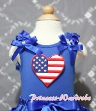 Royal Blue Pettitop Tank Top with Patriotic Heart Blue Bow For Pettiskirt NB-8Y