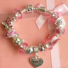 CHILDRENS/GIRLS/KIDS PERSONALISED/BIRTHDAY CHARM BRACELET PINK & SILVER GIFT BOX