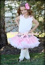 Leopard Waist Pink White Pettiskirt with White Pettitop Pink Ruffle Bow Set 1-8Y