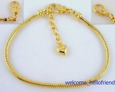 5pcs Gold Plated Lobster Clasp Snake Chain Charm Bracelets Fit European Bead P15