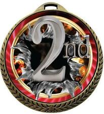 Burst 2nd Place Medals w/Ribbon Any Qty Ships in USA $5.49
