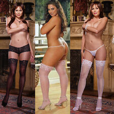 Plus Size One Size Queen Black Pink or White Stay Up Sheer Thigh Highs  DG0005X