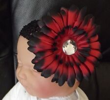 BOUTIQUE BABY/CHILD 4 INCH LARGE FLOWER  HEADBAND BLACK & RED