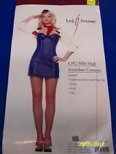 4 pc Mile High Attendant Stewardess Flight Dress Up Halloween Sexy Adult Costume