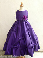 NEW PURPLE FLOWER GIRL TODDLER PAGEANT DRESSES 2 - 14