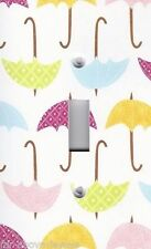 Light Switch Plate Switchplate & Outlet Covers COLORFUL RAIN UMBRELLAS ~ CUTE