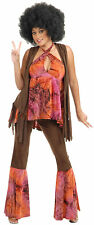 San Francisco Hippie 60s Flower Child Brown Dress Up Halloween Adult Costume