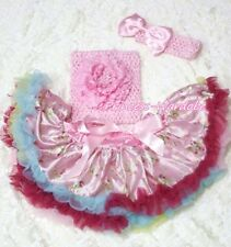 Newborn Light Pink Floral Pettiskirt Crochet Tube Top & headband 3PC Set 3-12M