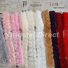 Double Row 3D Rose Flower Lace Trim Bridal Doll White Ivory Pink Red Purple Grey