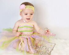 Baby HANDMADE Pale Mix Knotted Tulle Tutu Match Rainbows Crochet Tube Top NB-24M