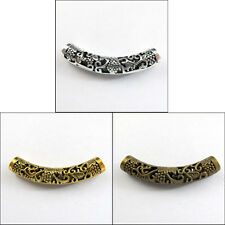 5Pcs Antiqued Silver,Gold,Bronze Flower Curved Tube Spacer Beads Charms P022