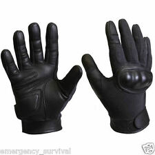 Kevlar Hard Knuckle Leather Tactical Shooting Gloves Black - FREE SHIPPING