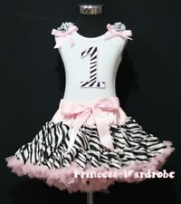 Baby Light Pink Zebra Pettiskirt 1st Birthday Cupcake Ruffle & Bow Top Party Set