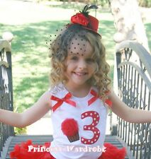 White Cotton Top Red Dots Birthday Number THIRD Cake Baby For Girl Pettiskirt 3T