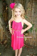 Hot Pink Gown Pageant Girl Tutu Party Skirt Cocktail Evening Dress 2-7Y PD015
