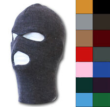 RIBBED BALACLAVA 3-HOLE SKI SNOWBOARDING WINTER FACE MASK - VARIOUS COLORS