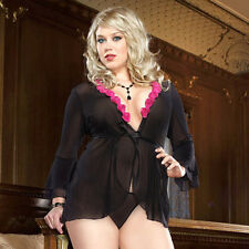 Plus Size Lingerie One Size 1X2X or One Size 3X4X Black Robe with Thong  DG7907X