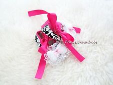 Infant Baby Toddler Girl Hot Pink Damask Print Flat Shoe with Bow Ribbon 0-18M