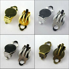 60 Flat Pad Clip On Earring DIY Gold,Silver,Bronze etc.Wholesale 10x18mm R344-2