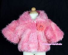 Hot Pink Kids Soft Fur with Rose Pearl Bead Capelet Coat Size 2-6Y Shawl SH30