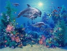 3779 THE FAMILY DOLPHINS FINE WALL ART FANTASY METAL WALL SIGN BRAND NEW