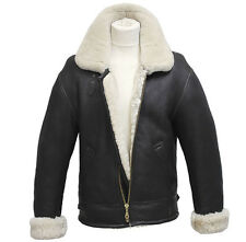 Men's Aviator B3 Cream Real Shearling Sheepskin Leather Bomber Flying Jacket