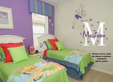 Fairy Tinkerbell Monogram Name and pixie dust vinyl wall sticker - Match bedding