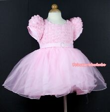 Light Pink Rose Print Wedding Party Tutu Bridal Flower Girl Dress 2-8Year PD025