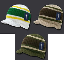 NEW STRIPED CAMPUS VISOR BEANIE JEEP CAP HAT 3 COLORS AVAILABLE