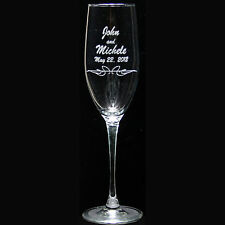 Personalized Champagne Flute Engraved w Couple's Names and Wedding Date